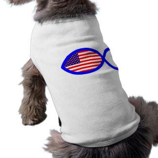 American Christian Fish Symbol Flag Dog T-shirt
