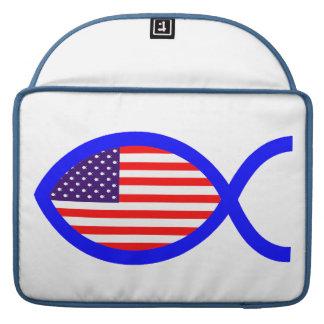 American Christian Fish Symbol Flag Sleeves For MacBooks