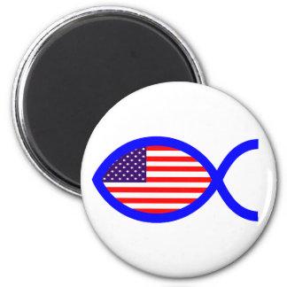 American Christian Fish Symbol Flag Magnets