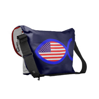 American Christian Fish Symbol Flag Courier Bags