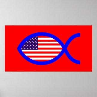 American Christian Fish Symbol Flag Posters