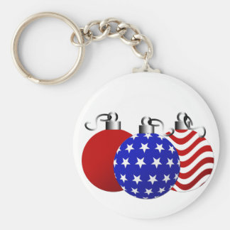 American Christmas Basic Round Button Key Ring