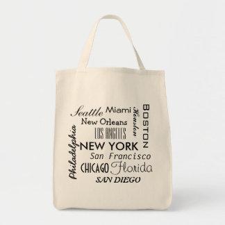 American cities word cloud tote bag