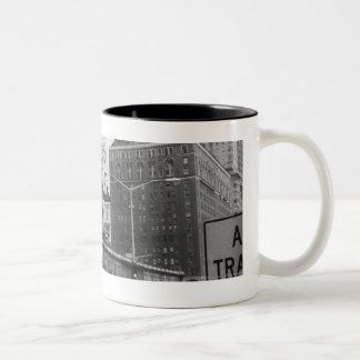 American city with commercial billboards Two-Tone coffee mug