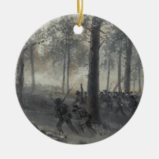 American Civil War Battle of Chickamauga by Waud Christmas Ornament