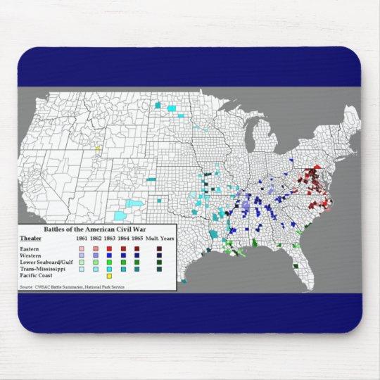 American Civil War Battles Map Mouse Mat