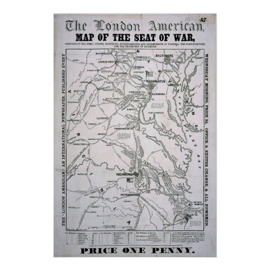 American Civil War Map Poster