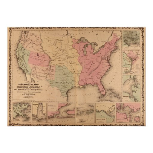 American Civil War Military Map 1862 Poster