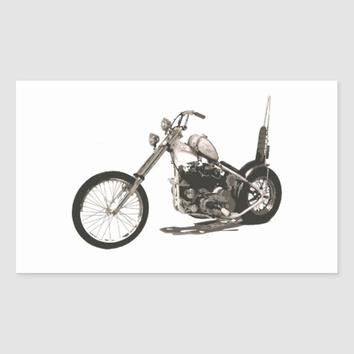 American Classic Chopper Motorcycle Rectangular Sticker