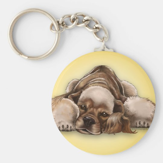 American Cocker Spaniel Buff Cocker Dog Keychain