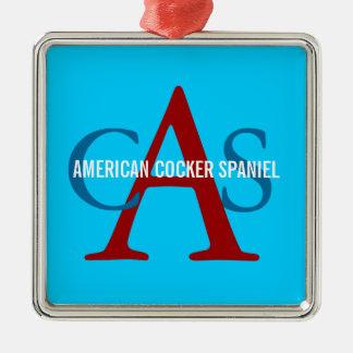 American Cocker Spaniel Monogram Silver-Colored Square Decoration