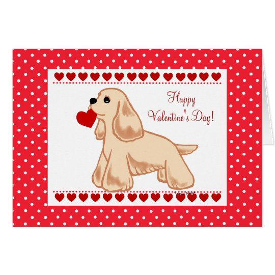 American Cocker Spaniel Valentine Cartoon Card