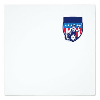 American Construction Worker Beer Keg Crest Retro 13 Cm X 13 Cm Square Invitation Card