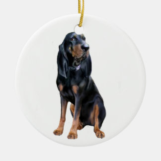 American Coon Hound - Black and Tan Round Ceramic Decoration