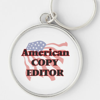 American Copy Editor Silver-Colored Round Key Ring