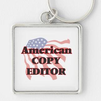 American Copy Editor Silver-Colored Square Key Ring
