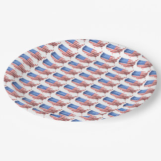 American Country Stars Stripes USA Red White Blue 9 Inch Paper Plate