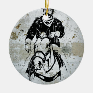 American Cowboy Horse Western Southwest Round Ceramic Decoration