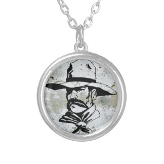 American Cowboy Western Southwest Hat Horse Round Pendant Necklace
