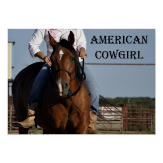 """American Cowgirl"" Horse and Rider Poster"