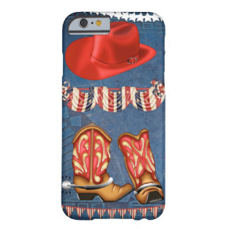 American Cowgirl red white blue western boots hat Barely There iPhone 6 Case