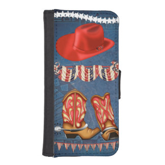American Cowgirl red white blue western boots hat iPhone SE/5/5s Wallet Case