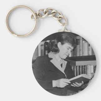 American Cultural Anthropologist Margaret Mead Basic Round Button Key Ring