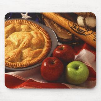 American Cultural Icons Apple Pie Baseball & Flag Mousepad