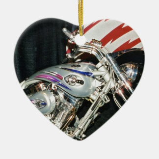 American Custom VTwin Motorcycle. Ceramic Heart Decoration