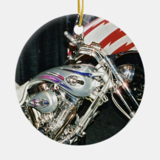 American Custom VTwin Motorcycle. Round Ceramic Decoration