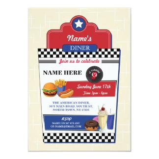 American Diner Birthday Party Burger 1950s Invite
