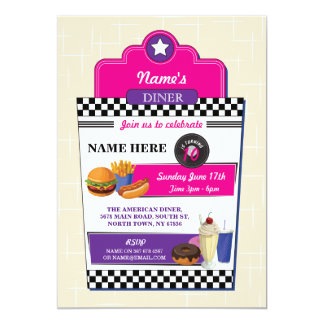 American Diner Birthday Party Burger Girls Invite
