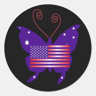American Diva Butterfly Round Sticker