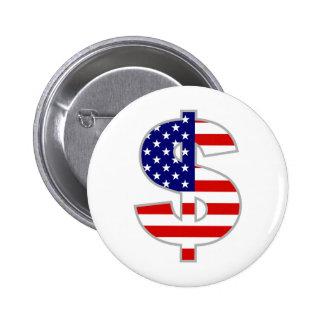 American Dollar 6 Cm Round Badge