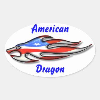 American Dragon Oval Sticker