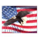 """American Eagle & American Flag Invitation 4.25"""" X 5.5"""" Invitation Card"""