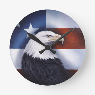 American Eagle and Flag Round Clock