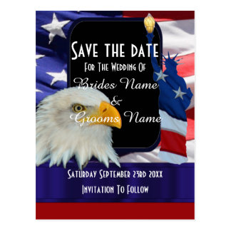 American eagle and flag save the date postcard