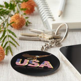 American eagle flag basic round button key ring