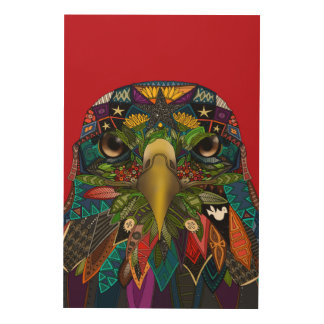 American Eagle red Wood Wall Decor