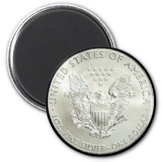 AMERICAN EAGLE SILVER DOLLAR-MAGNET 6 CM ROUND MAGNET