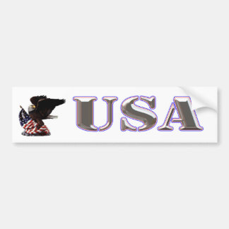 American Eagle Silver USA Red White Blue Trim Car Bumper Sticker