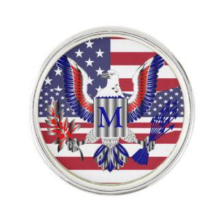American eagle symbol and flag lapel pin