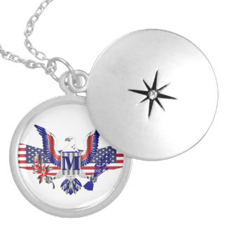 American eagle symbol silver plated necklace