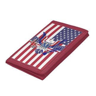 American eagle symbol tri-fold wallet