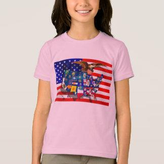 American Eagle US flag USA states T-Shirt