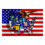 American Eagle USA flag US State flags map Poster