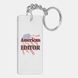 American Editor Double-Sided Rectangular Acrylic Key Ring