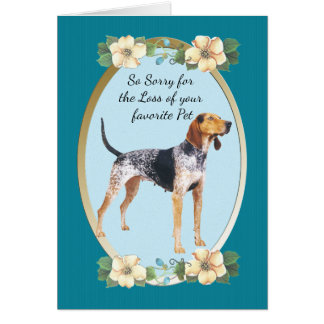 American English Coonhound, Teal Floral - Pet Loss Card