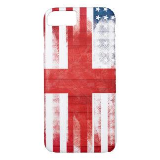 American English Flag | Wood Grain & Paintstrokes iPhone 8/7 Case